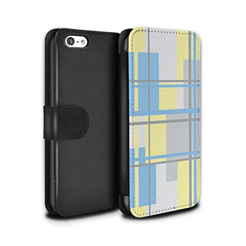 Stuff4 Coque/Etui/Housse Cuir PU Case/Cover pour Apple iPhone 5C / Citron/Bleu Cercles Design / Mode Jaune Collection Textile Tissu