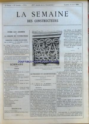 SEMAINE DES CONSTRUCTEURS (LA) [No 6] du 02/08/1890