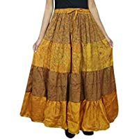 Mogul Interior Womens Boho Maxi Skirt Gold Sari Tiered Belly Dance Long Skirts OneSize