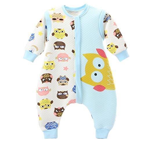 Baby Schlafsack Mit Reißverschluss Beine Getrennt Ärmel abnehmbar 1.5 Tog,Blaue Eule M (Blau Baby M)