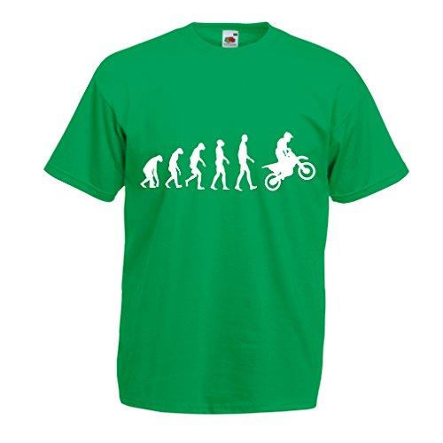 lepni.me Camisetas Hombre evolución del Motocross, Camisa de la Motocicleta, Desgaste de Las Carreras de Motos, Moto de Carretera (X-Large Verde Blanco)