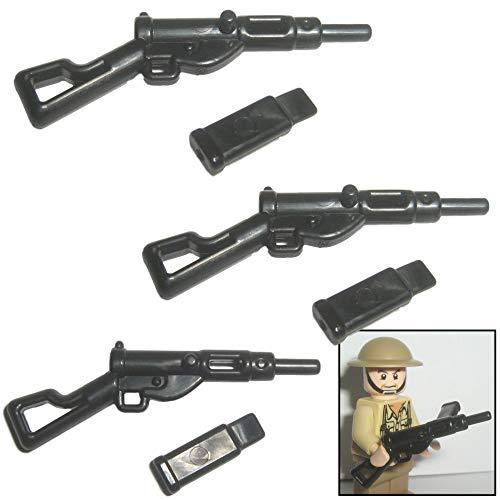 3X Sten Gun Maschinenpistole mit Magazin UK WW2 - Custom Soldaten Waffe für Lego Figuren