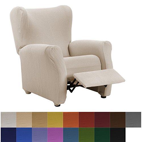 Funda de Sillón Relax Elástica Modelo Camden, Color Marfil, Medida 70-90cm respaldo