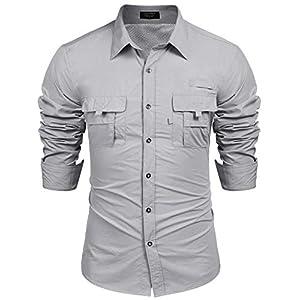 Burlady Herren Hemd Regular Fit Langarm Einfarbiges Hemd Shirt für Männer Khaki Grau Grün
