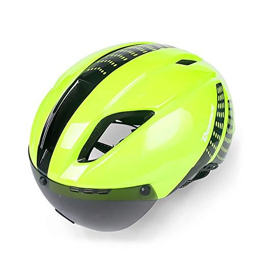 Exklusive Anpassung Mountain Road Fahrrad Fahrrad Erwachsene Sport Reiten Helm integrierte Winddichte Brille Helm Sicheres Fahren (Farbe : Green) (Green Mountain-kamera)