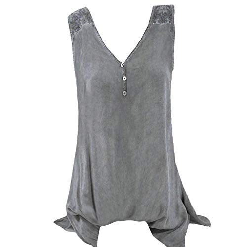 Yvelands Damen Weste Tank Top Plus Größe Tops U Hals Stickerei aushöhlen ärmellose Sommer T-Shirt(Grau1,L)