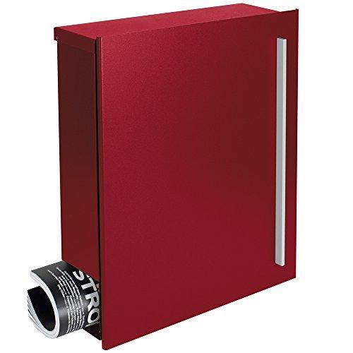 MOCAVI Box 110 Design-Briefkasten rot mit Zeitungsfach Wandbriefkasten Postkasten Zeitungsrolle purpur-rot (RAL 3004) 12 l