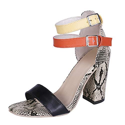 FNKDOR Schuhe Damen Serpentin High Heels Peep-Toe One Band Pumps Ankle Wrap Ankle Strap Schnalle Hoher Absatz Sandalen Gold 40 EU Ankle Wrap Band