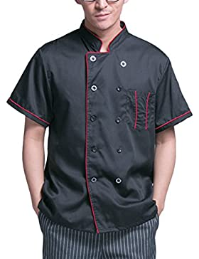 Zhuhaitf Alta calidad Chef's Black Jacket Shirt Comfortable Short Sleeve Work Clothes