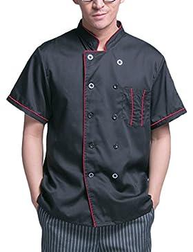 Zhuhaitf Alta calidad Chef's Black Jacket Shirt Comfortable Short Sleeve Work Clothes