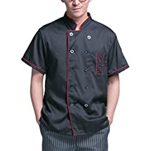 Zhhlinyuan Comfortable Chef's Short Sleeve Jacket Shirt Black Work Clothes