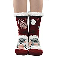 Women Slipper Socks Warm and Soft Sherpa Lined Winter Socks Fluffy Thermal Socks with Non Slip Grips Sole for Girls, Cute Animal Pattern