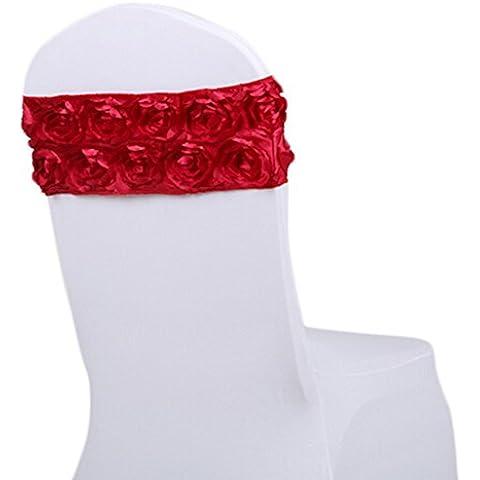 Spandex Matrimonio copertura della sedia Rose Banda Sashes decorazioni Banchetto Partito arredamento 10 Pz (Vino rosso)