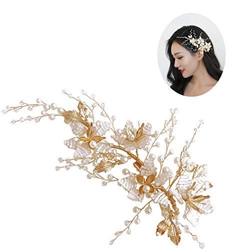 roroz Koreanische Perlen Blume Haarspange, Golden Leaf Kopfschmuck, Braut Styling Hochzeitskleid Abendessen Accessoires Haarnadel 2019, Gold