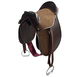 Cwell Equine Kinder Pony-Pad/Jungesattel, komplett mit Steigbügel, Gurt und Gurten, 25,4 cm, Braun