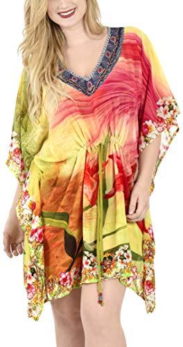 LA LEELA Damen Chiffon überdimensional Midi 3D HD Gedruckt Kimono Kaftan Tunika Kaftan Damen Top Freie Größe Loungewear Urlaub Nachtwäsche Strand jeden Tag Kleider Mehrfarbig_D120 - Kaftan Tunika Top
