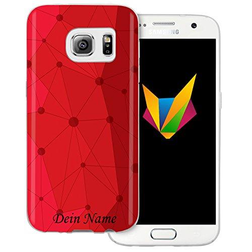 Mobilefox Grafik mit Namensdruck transparente Silikon TPU Schutzhülle 0,7mm dünne Handy Soft Case für Samsung Galaxy S7 Grafik Atomium Rot