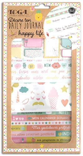 Toga Happy Life Zubehör-Set Bullet Tagebuch, Papier/Kunststoff, rosa-gelb/blau-orange, Pack: 15,8 x 30,5 cm