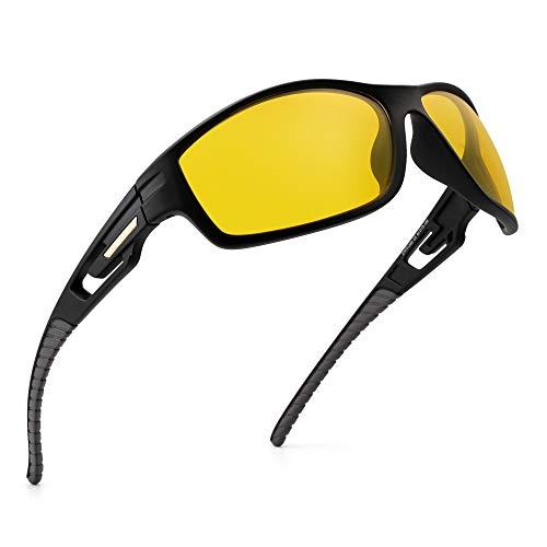 JIM HALO Polarisiert Sport Sonnenbrille Wrap Herum Fahren Angeln Brillen für Herren(Schwarzer Rahmen/Nacht Fahren Gelb Linse)