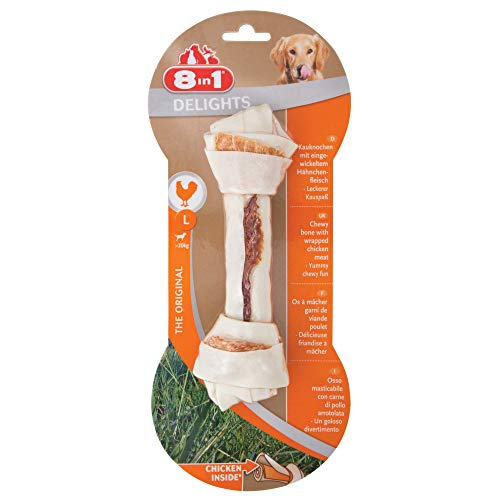 8in1 Delights Chicken Kauknochen L, gesunder Kausnack für große Hunde, 1 Stück (85 g)