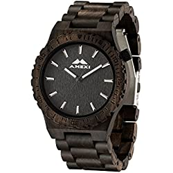 LSTBRAND Wooden Watch With Mens Size Unique Design Sandalwood Black Wrist Watches Mens Watch