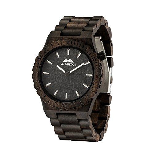 chwarz mit Sandelholz 44mm Fall-Diamater-Armbanduhren in Japan Quarzwerk Analog Display zum Verkauf (Tragen Anzug Zum Verkauf)
