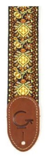 Gretsch 922-0060-102 Guitar Strap, YelloohneOrange, Brown Fin