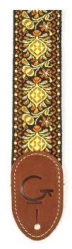 Gretsch 922-0060-102 Guitar Strap, YelloohneOrange, Brown End