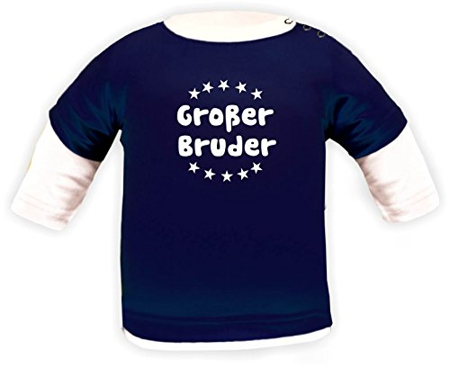 Baby Shirt Multicolor Langarm (Farbe navy-weiss) (Größe 110-116) Großer Bruder /COOK (Color Shirt Multi Mädchen)