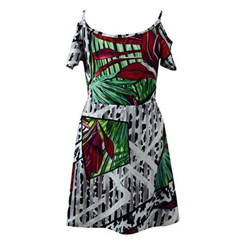 äische und amerikanische Mode Sling eine Schulter und Knie Strap Retro tropischen Regenwald Sling geometrische weiß grün gedruckt Kleidung Familie Eltern-Kind XS-XL ()