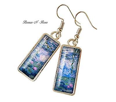 Boucles d'oreilles rectangulaire Les Nymphéas de Claude Monet cabochon couleur argent rectangle