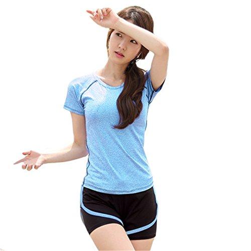 REALLION Femmes 2 Pièces Ensembles de Yoga (T-shirt à manches courtes + Shorts ) Sportswear à respirant, Hygroscopique et à Séchage Rapide Bleu et Noir