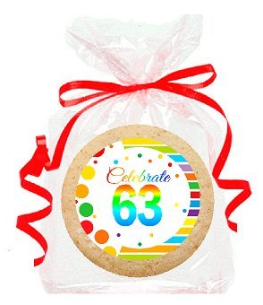 63rd Birthday / Anniversary Rainbow Image Freshly Baked Party Favor / Gift Decorated Sugar Cookies - 24pk