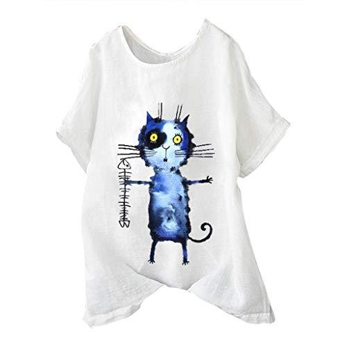 Baumwoll Print Cover Up (Frauen Plus Size Kurzarm Baumwolle Leinen O Neck Print Pullover Tops Shirt Kurzärmliges Baumwolloberteil Mit Rundhalsausschnitt Und Katzendruck)