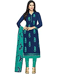 Radhey ArtsNew Designer Blue And Sky Blue Embroidered Cotton Dress Material With Matching Dupatta