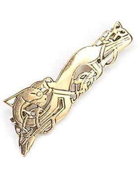 Schmuck Brosche keltischer Hund klein, Bronze Broschennadel, Länge 5,5cm#