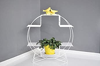 Nayab Handicrafts Ivory Iron Hoop Round Pot And Planter Stand