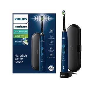 Philips Sonicare ProtectiveClean 5100 elektrische Zahnbürste – Schallzahnbürste mit 3 Putzprogrammen, Andruckkontrolle, Timer & Reise-Etui