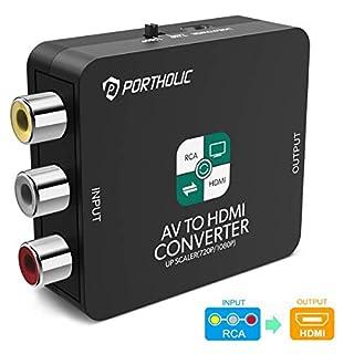 PORTHOLIC AV RCA auf HDMI Adapter AV zu HDMI Converter AV auf HDMI Konverter Unterstützung 1080P mit USB Ladekabel für PC/Xbox/PS4/PS3/TV/STB/VHS/VCR/Kamera/DVD