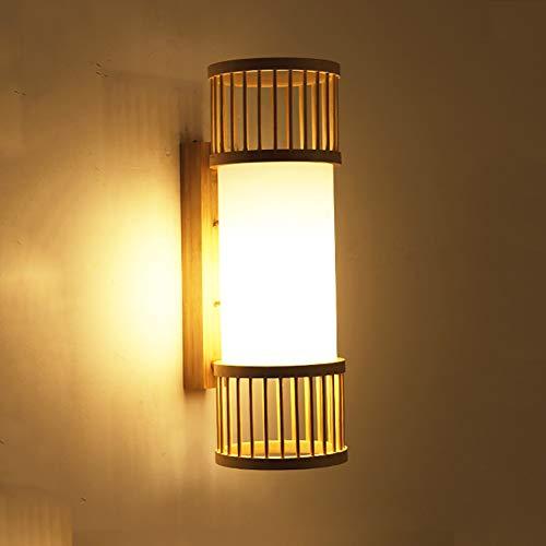 Kreative Bamboo Wall Lampe, Schlafzimmer Treppen Nachttischlampe Bracket Licht, Holz Farbe 5-Zoll-Nachtlicht -