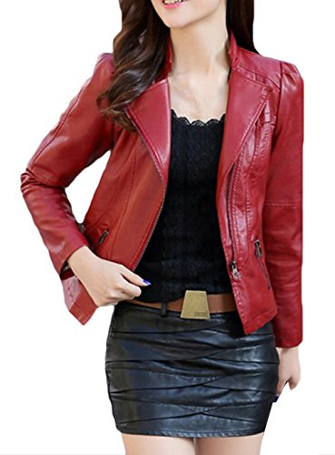 La vogue Damen Slim Fit Lederjacke Warm Ledermantel Weinrot M Brust86cm