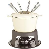 Kitchen Craft Set regalo per fonduta in ghisa smaltata, con sei forchette, colore: Crema - Fuel Bowl