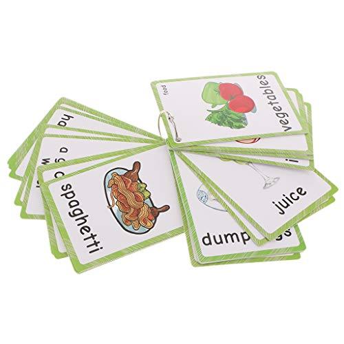 B Blesiya 35pcs Englische Früchte Lernkarten Wortkarten Lernen für Kindergarten Vorschule