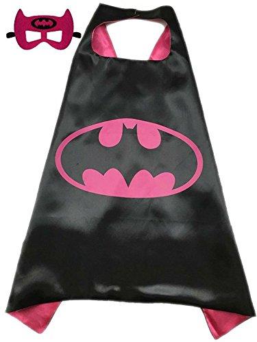 Sunkee Superheld oder Prinzessin CAPE & MASK SET Kind-Kinder-Halloween-Kostüm (Batgirl, Rosa und Schwarz) (Batgirl Kostüm Set)