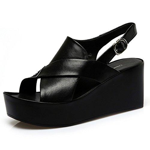 Confortable Slope avec des sandales Sandales en cuir féminin d'été Chaussures plates Chaussures de poissons de sable épais (2 couleurs en option) (taille facultative) Augmenté ( Couleur : A , taille : B
