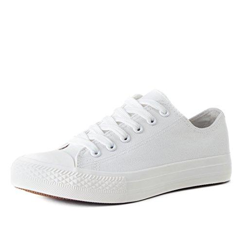 Klassische Unisex Damen Herren Schuhe Low Top Sneaker Turnschuhe Weiß 45 (Turnschuhe Leder Klassische Schuhe Herren)