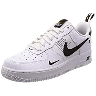 NIKE Herren Air Force 1 '07 Lv8 Utility Gymnastikschuhe, Weiß White/Black/Tour Yellow 100, 42 EU