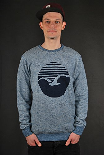 CLEPTOMANICX Herren Sweatshirts Vintage Print Vintage Blue