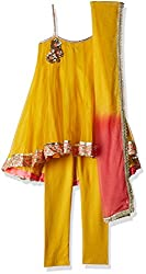 Biba Girls Salwar Suit (KW1762_Ochre and Neon Pink_9)