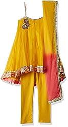 Biba Girls Salwar Suit (KW1762_Ochre and Neon Pink_9)